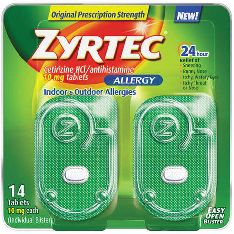 Zyrtec 24 Hour Allergy Relief Tablets, 10 mg,14 tablets