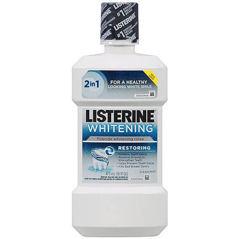 Listerine Whitening Mouthwash Rinse,  Clean Mint, 16 oz