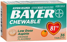 Bayer Low Dose Aspirin Regimen, Orange, 81 mg, 36 chewable tablets