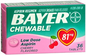 Bayer Low Dose Aspirin Regimen,  Cherry, 81 mg, 36 chewable tablets