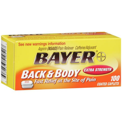 Bayer Back & Body Pain Relief,  Extra Strength, 100 caplets