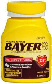 Bayer Aspirin Pain Reliever,  325 mg, 200 tablets