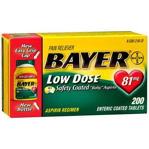 Bayer Low Dose Safety Coated Aspirin, 81mg, 200 tablets