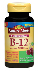 Nature Made Vitamin B12 Sublingual 1000mcg, 50 micro-lozenges