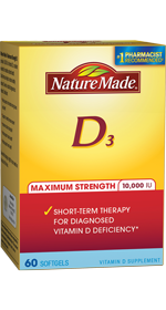 Nature Made Maximum Strength 10,000 IU Vitamin D3, 60 liquid softgels