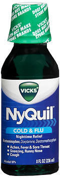 Vick's Nyquil Cold & Flu Relief Liquid, Original flavor, 8oz