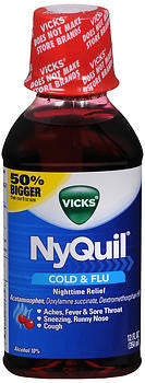 Vick's Nyquil Cold & Flu Relief Liquid, Cherry flavor, 12oz