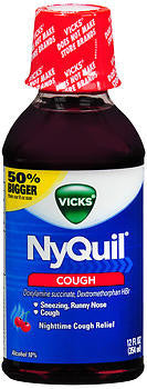 Vick's Nyquil Cough Relief Liquid, Cherry flavor, 8oz