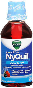 Vick's Nyquil Alcohol-Free Cold & Flu Relief Liquid, Berry flavor, 12oz