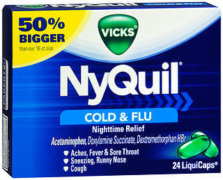 Vick's Nyquil Cold & Flu Relief, 24 LiquiCaps