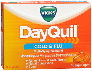 Vick's Dayquil Cold & Flu Relief, 16 LiquiCaps