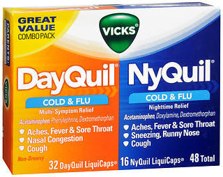 Vick's Dayquil / Nyquil Cold & Flu Relief Combo, 48 LiquiCaps