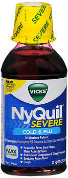 Vick's Nyquil Severe Cold & Flu Relief Liquid, Berry flavor, 8oz