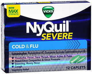 Vick's Nyquil Severe Cold & Flu Relief, 12 Caplets