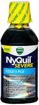 Vick's Nyquil Severe Cold & Flu Relief Liquid, Original flavor, 12oz