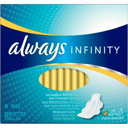 Always Infinity Pads, Regular, 12 Units x 18 Pads (216 total)