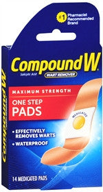 Compound W Maximum Strength Wart Remover, One Step Pads, 14 ct