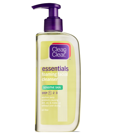 Clean & Clear Essentials Foaming Facial Cleanser, Sensitive Skin, 8 oz
