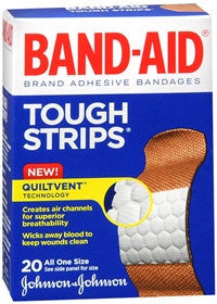 Band-Aid Tough Strips, Adhesive Bandages,  20 ea