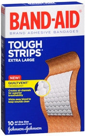 Band-Aid Tough Strips, Adhesive Bandages,  Extra Large, 10 ea