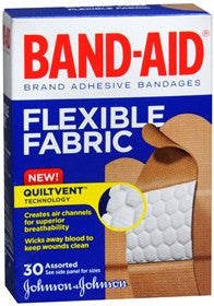 Band-Aid Flexible Fabric Adhesive Bandages, Assorted Sizes, 30 ea