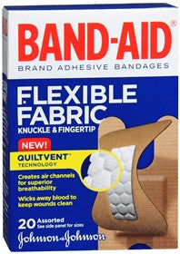 Band-Aid Flexible Fabric Adhesive Bandages, Knuckle & Fingertip, 20 ea