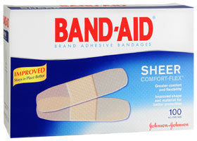 Band-Aid Comfort-Flex Sheer Adhesive Bandages, 100 ea