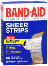 Band-Aid Sheer Strips, Adhesive Bandages, 40 ea
