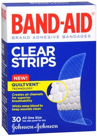 Band-Aid Clear Strips Adhesive Bandages, 30 ea
