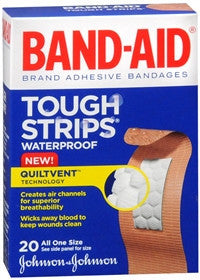 Band-Aid Tough Strips, Waterproof Adhesive Bandages, 20 ea