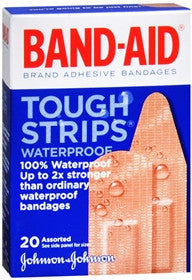 Band-Aid Tough Strips, Waterproof, Assorted Sizes, 20 count