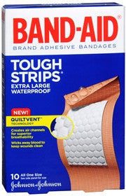Band-Aid Tough Strips, Waterproof Adhesive Bandages, Extra Large, 10 ea