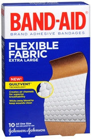 Band-Aid Flexible Fabric Adhesive Bandages, Extra Large, 10 ea