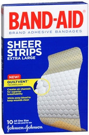 Band-Aid Sheer Strips Adhesive Bandages, Extra Large, 10 ea