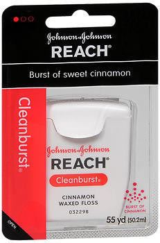 Johnson & Johnson Dental Floss,  Waxed, Cinnamon, 55 yard