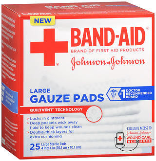Johnson & Johnson Gauze Pads,  Large, 25 ea