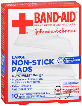 Band-Aid Large Non-Stick Pads 3in x 4in