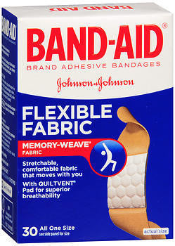 Band-Aid Adhesive Bandages, Flexible Fabric, 30 ea