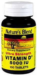 Nature's Blend Vitamin D3 5000IU, 100 Tabs