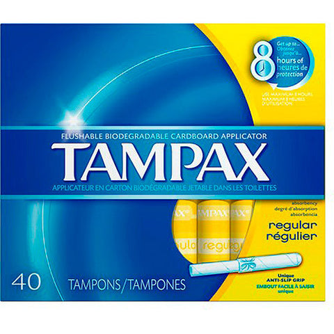 Tampax Tampons, Regular, 40 ea
