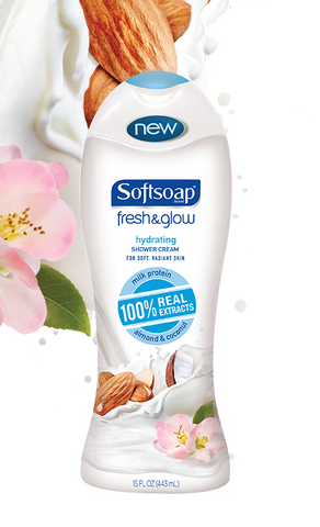 Softsoap Fresh & Glow Hydrating Shower Cream, Almond Coconut, 15oz