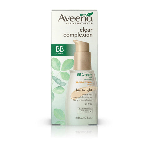 Aveeno Clear Complexion BB Cream SPF30, Fair to Light, 2.5 oz