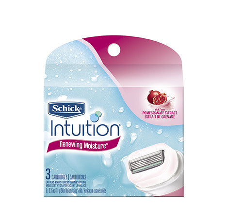 Schick Intuition Naturals Razor Cartridges, Renewing Moisture, 3 each