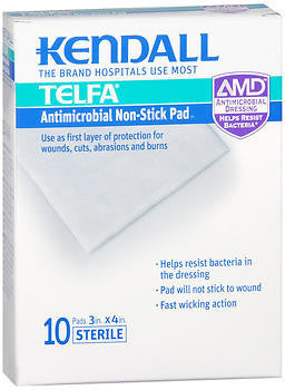 Kendall Telfa Antimicrobial Non-Stick Pad 3in x 4in, 10 each