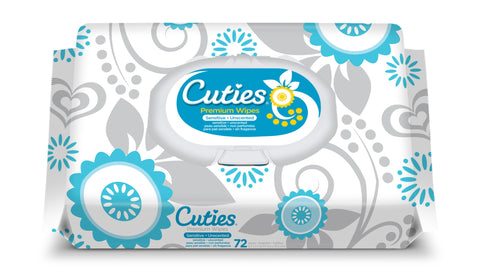 Cuties Quilted Baby Wipes Soft Pack– Sensitive/Unscented, 12 Packs of 72 (864ct)