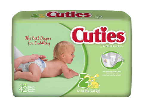 Cuties Baby Diapers – Size 2 (12-18 lbs.), 4 Bags of 42 (168ct)
