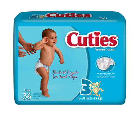 Cuties Baby Diapers – Size 3 (16-28 lbs.), 4 Bags of 36 (144ct)