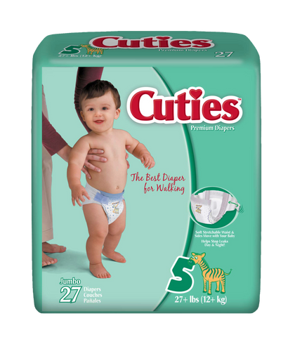 Cuties Baby Diapers – Size 5 (27+ lbs.), 4 Bags of 27 (108ct)