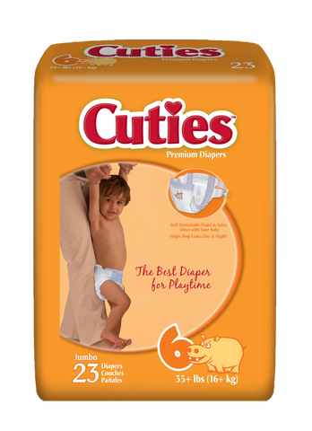 Cuties Baby Diapers – Size 6 (35+ lbs.), 4 Bags of 23 (92ct)