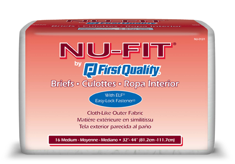 NU-FIT Adult Briefs Medium, 6 packs, 16 ea (96 ct)